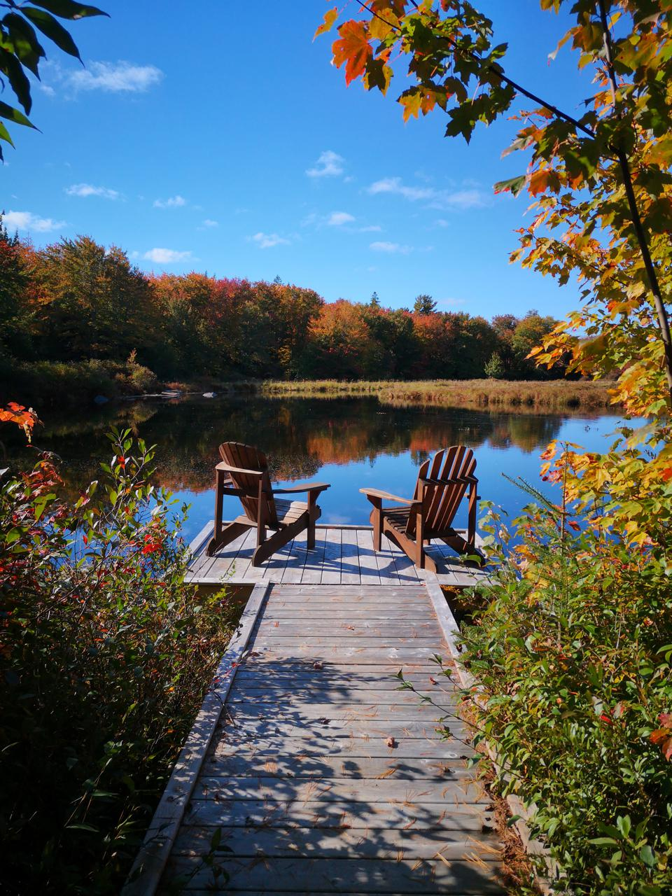 Trout Point Lodge in the autumn
