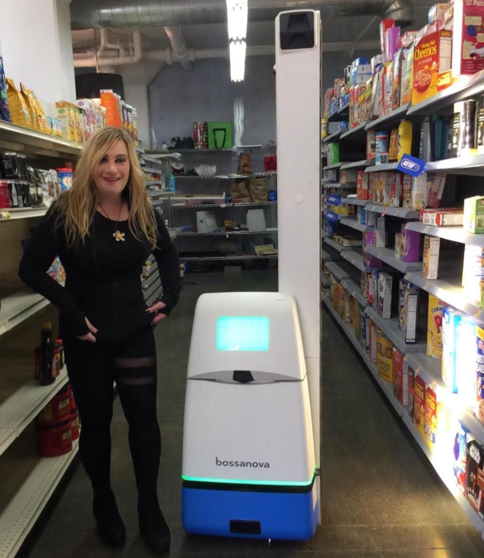 Me interviewing a speechless robot