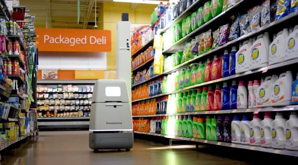 Bossa Nova robot scanning shelves