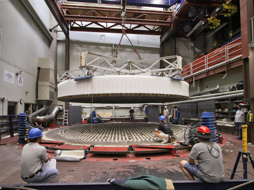 The largest in the world, the GMT's mirrors are currently being casted at the University of Arizona's Richard F. Caris Mirror Lab. This is the second mirror being constructed. It's now finished.