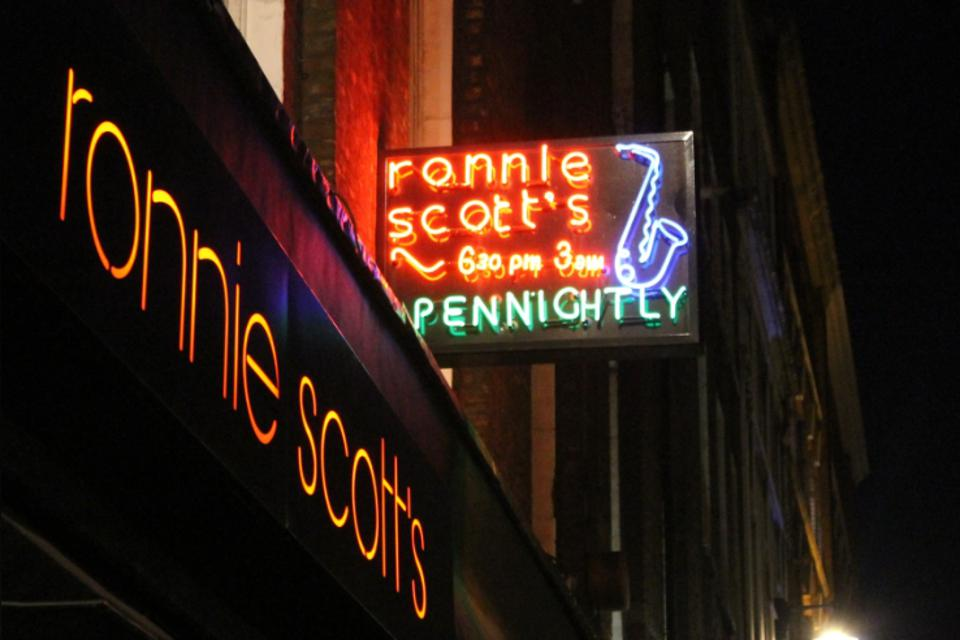 The iconic neon sign for Ronnie Scott's