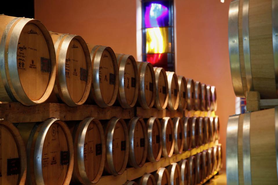 oak barrels at Maison Henri Giraud in Champagne