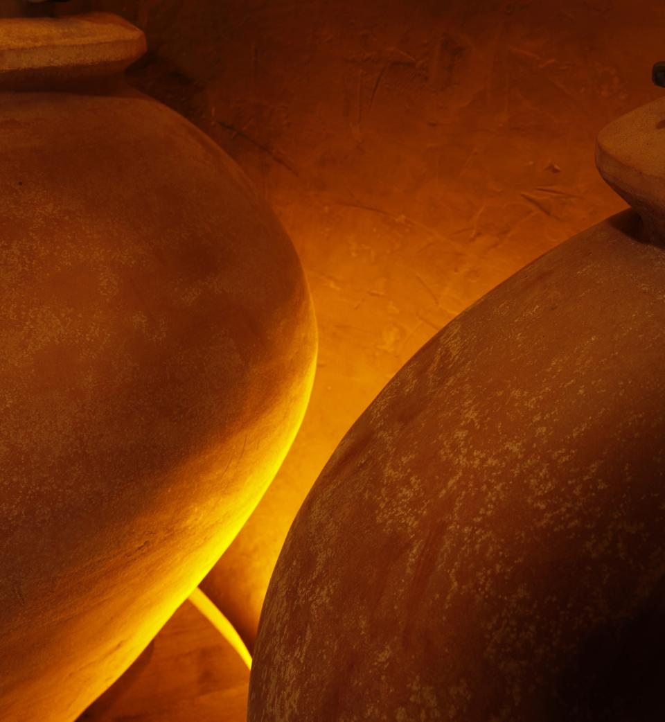 Clay amphora aging wine at Maison Henri Giraud in Champagne