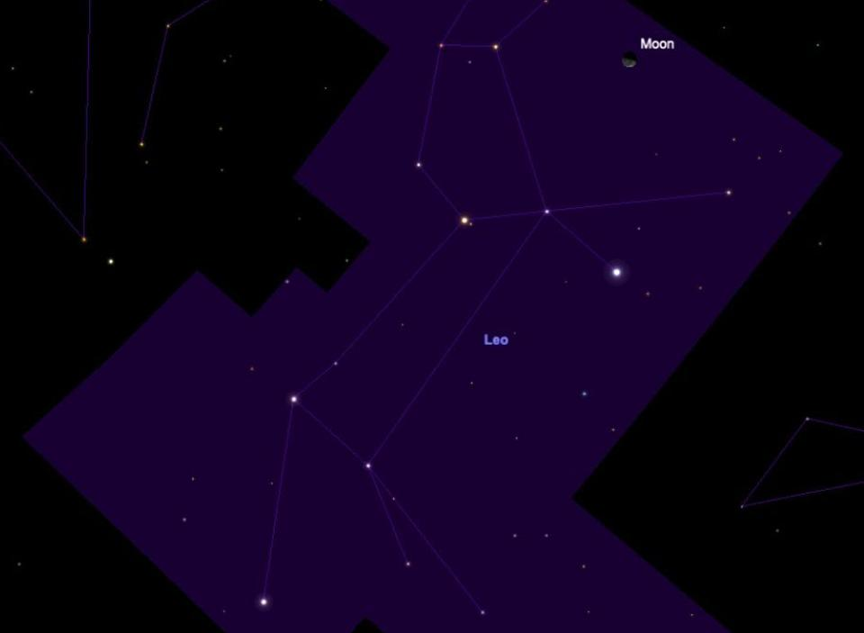 The constellation of Leo will be high in the night sky at 02:00 a.m. on November 19, but so will a bright moon.