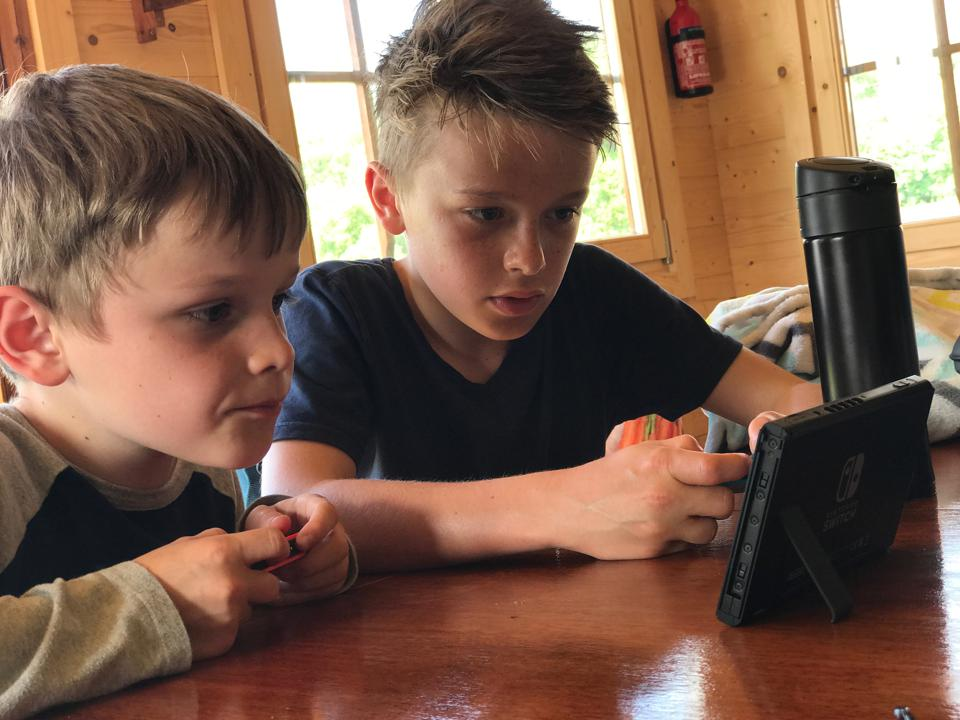 Boys Playing Nintendo Switch