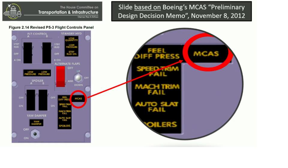 MCAS failure indicator
