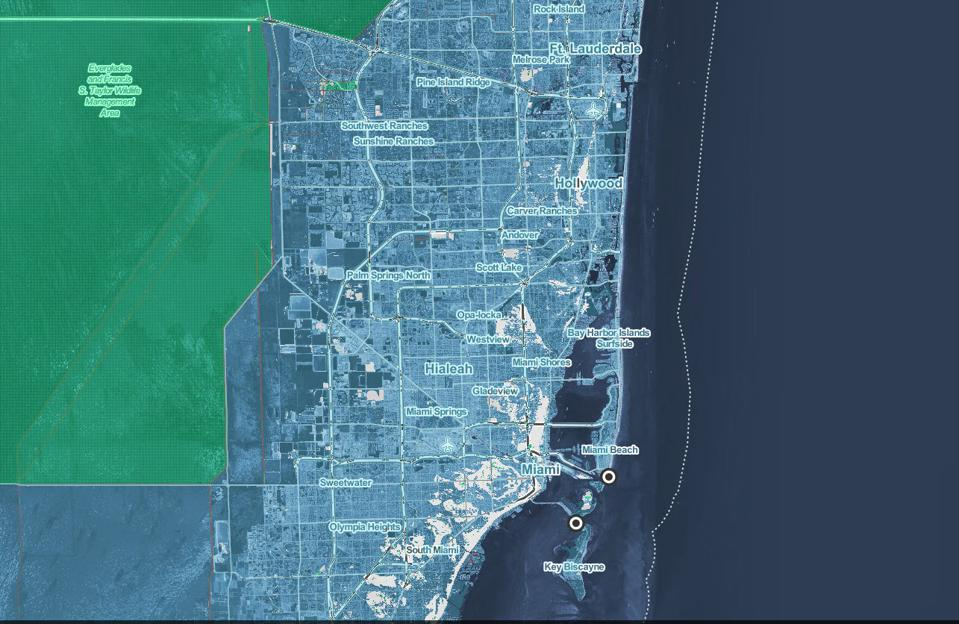 miami sea level rise map Shocking New Maps Show How Sea Level Rise Will Destroy Coastal miami sea level rise map