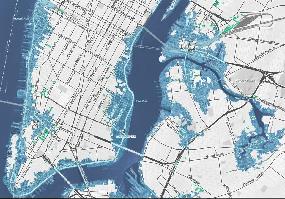 New York close up detail of sea level rise