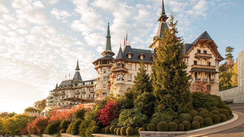 The fairytale-like exterior of the Dolder Grand Hotel in Zürich in the fall