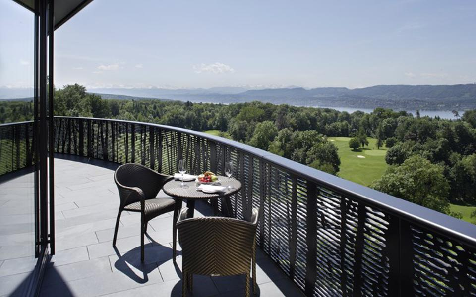 The view of the lake and Alps beyond from the rooms at the Dolder Grand Hotel in Zürich.