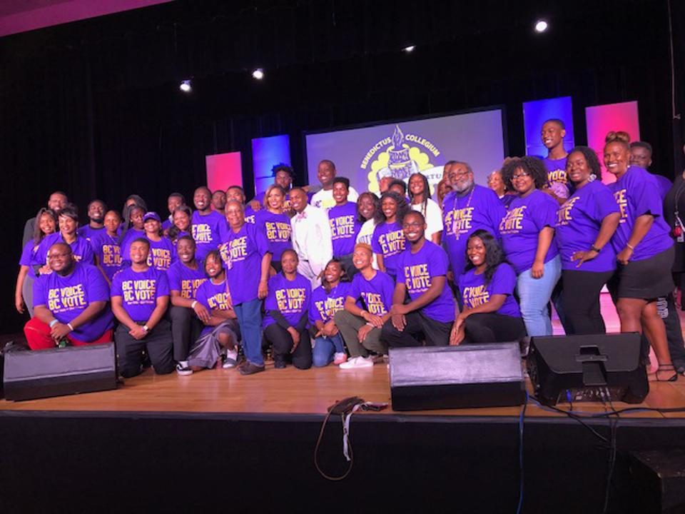 Students of Benedict College and their President, Dr. Roslyn Clark Artis