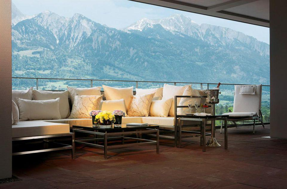Balcony view from the Spa Suites Penthouse at the Bad Ragaz Resort in Switzerland.