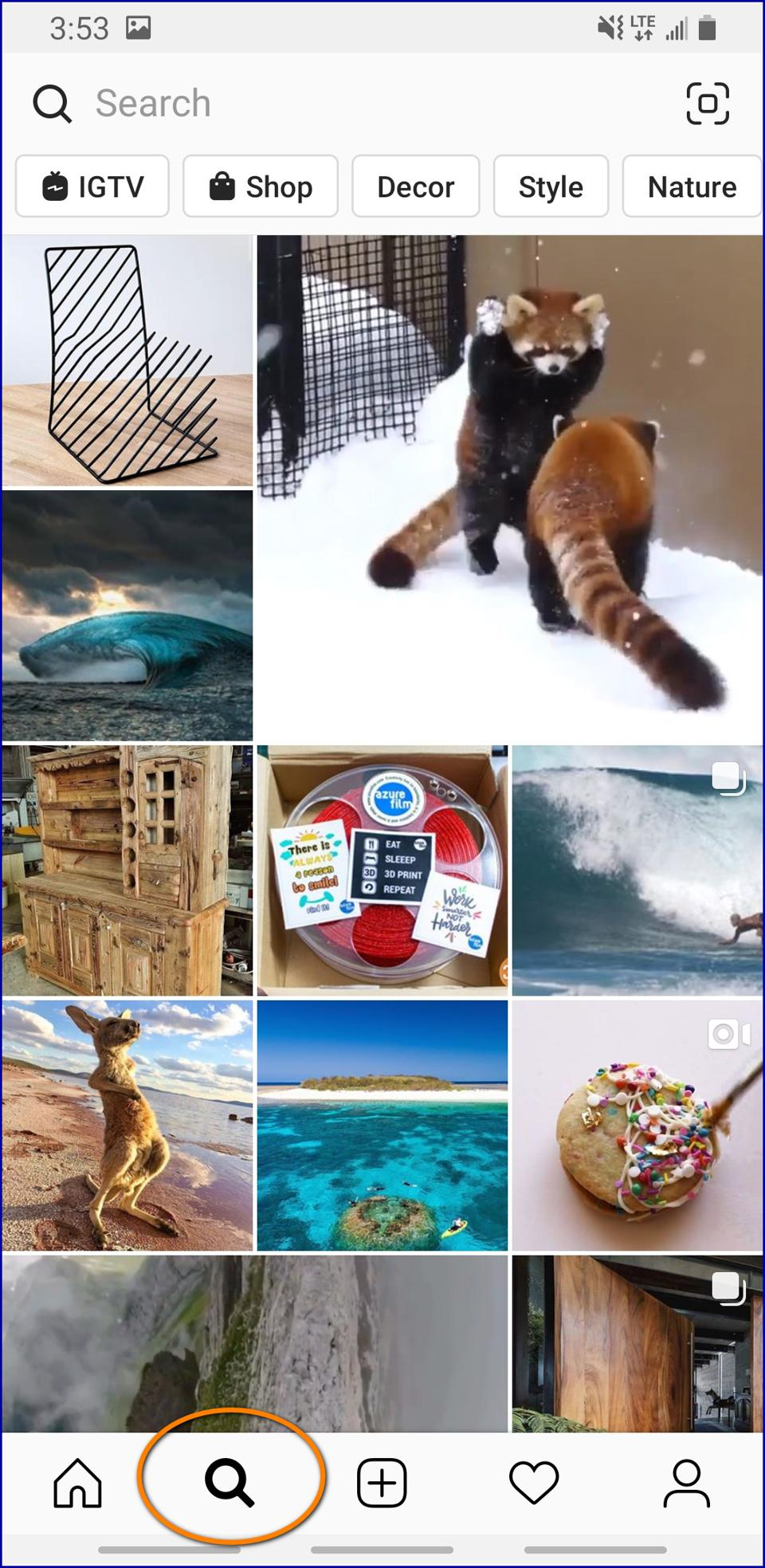 Where Is Instagram Explore Tab Found? See the magnifying glass at bottom of screen app.