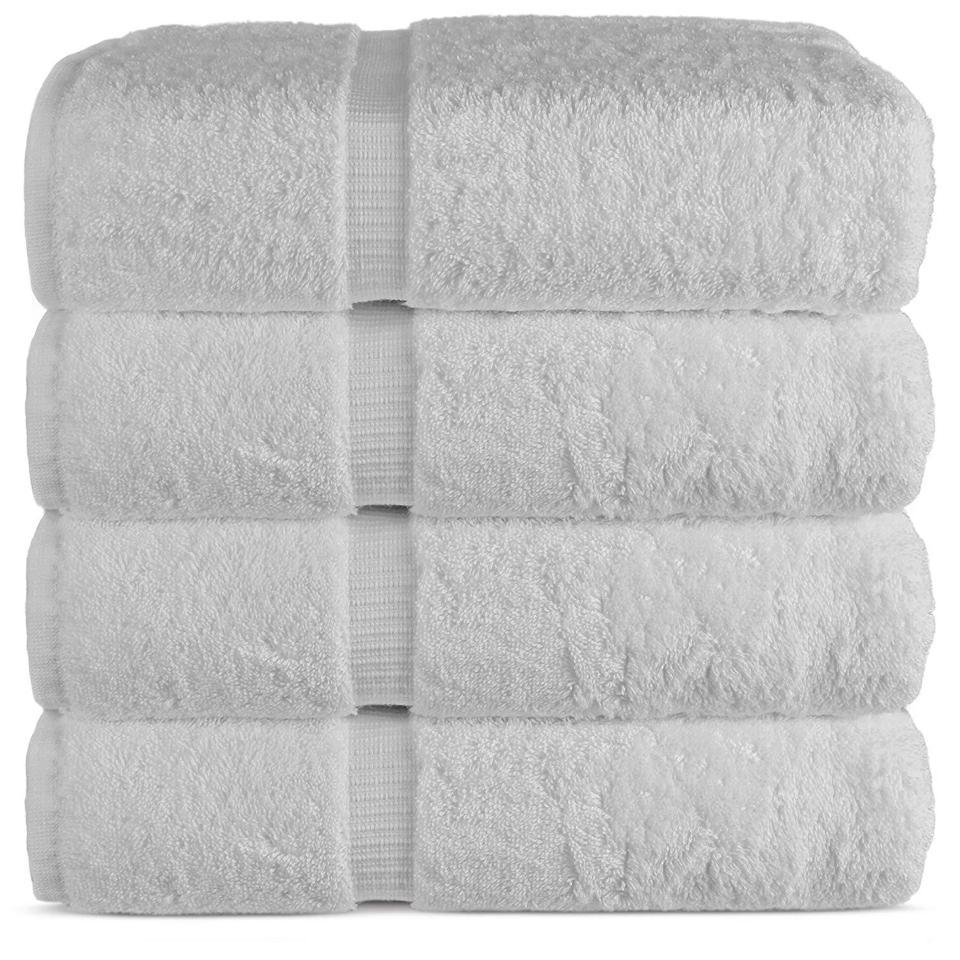 Luxury Hotel & Spa Bath Towel 100% Genuine Turkish Cotton, 27″ x 54″ ,Set of 4,White