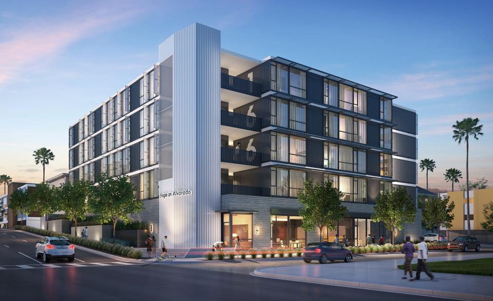 Rendering of Hope on Alvarado, a new modular housing concept created by HBG Construction Corp, KTGY Architecture + Planning, and Aedis Real Estate Group.