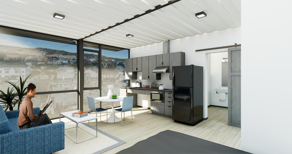 Rendering of a living/dining area in Hope On unit.