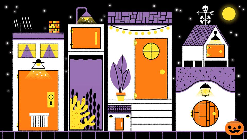 Cartoon of a purple, white, and orange haunted house on a black background.