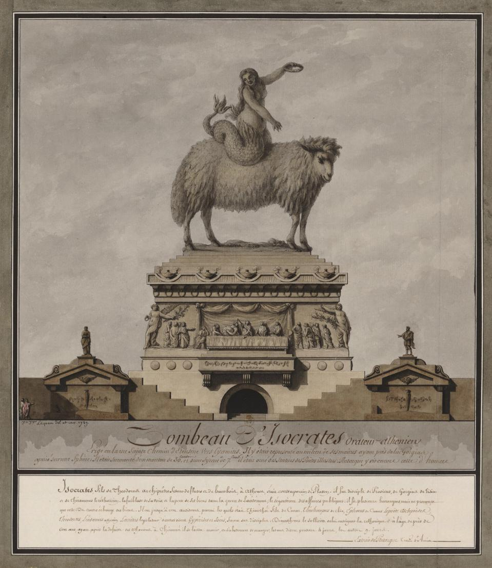 Jean-Jacques Lequeu, The Tomb of Isocrates, Athenian Orator (Tombeau d'Isocrate, orateur athénien), 1789. Ink on paper, 18 1/2 × 16 1/8 in. (46.9 × 40.9 cm). Collection of the Bibliothèque nationale de France. Photo: Bibliothèque nationale de France, dépt. des Estampes et de la photographie