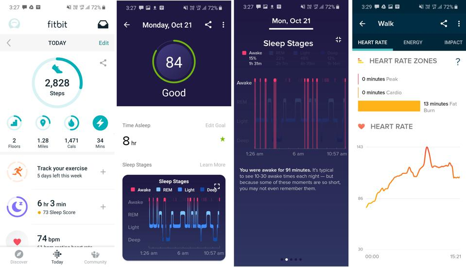 Fitbit's companion app has detailed stats.
