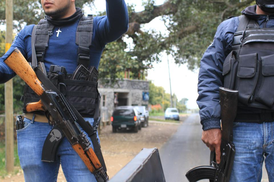 Fuerza Rural police patrol in Michoacan, Mexico.