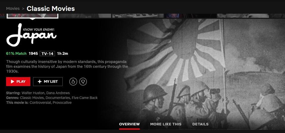 Wartime propaganda on Netflix