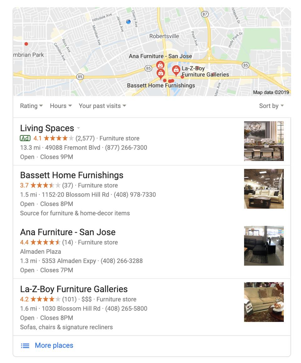 The Local Pack helps searchers find and choose local businesses.