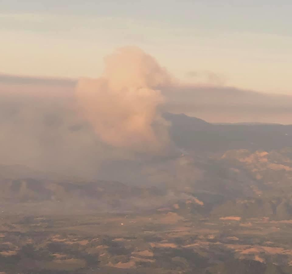 Kincade Fire from Airplane