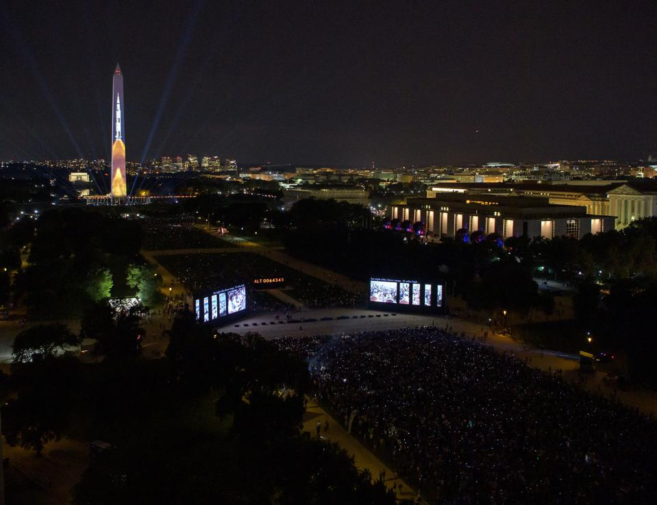 Apollo 11 Saturn V Rocket Projected On The Washington Monument