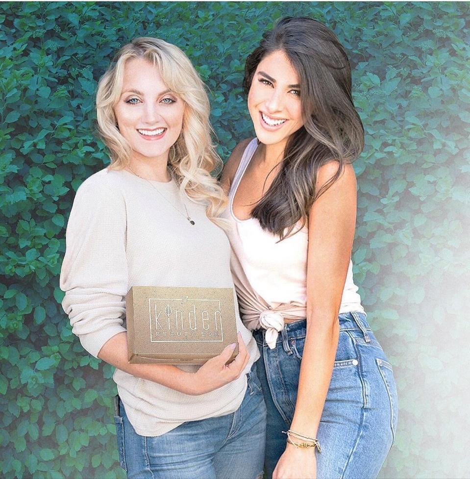 Evanna Lynch and Daniella Monet, cofounders of Kinder Beauty Box, a vegan and cruelty-free subscription box.