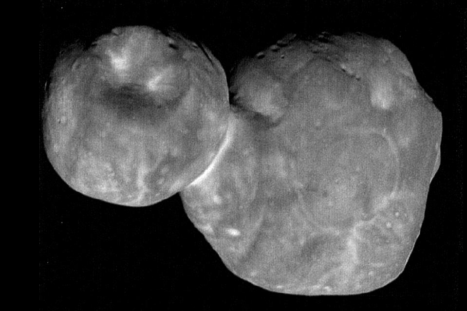 The most detailed images of Ultima Thule -- obtained just minutes before the spacecraft's closest approach at 12:33 a.m. EST on Jan. 1 -- have a resolution of about 110 feet (33 meters) per pixel.