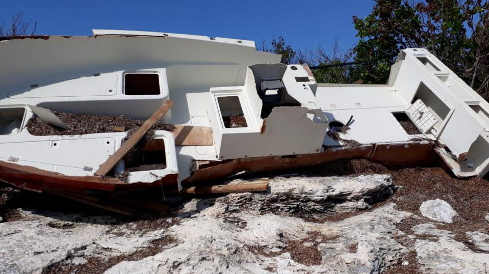 This fishing boat in Abaco was destroyed by Hurricane Dorian.
