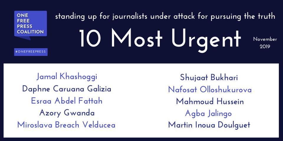 List of 10 Most Urgent, November 2019