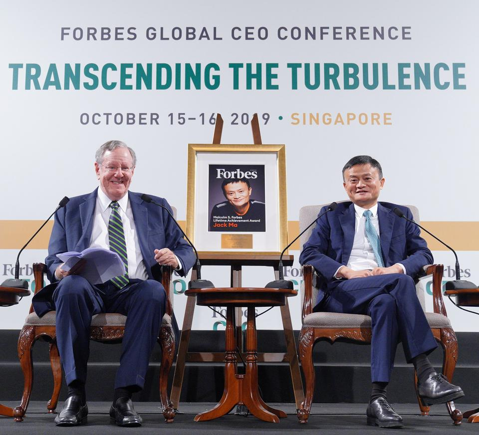Steve Forbes and Jack Ma in conversation at the Forbes Global CEO conference.