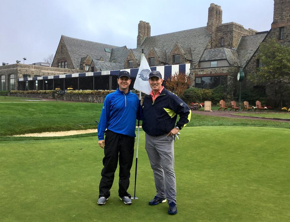 Former Yankees catcher John Flaherty (right) at Winged Foot, site of the 2020 US Open.
