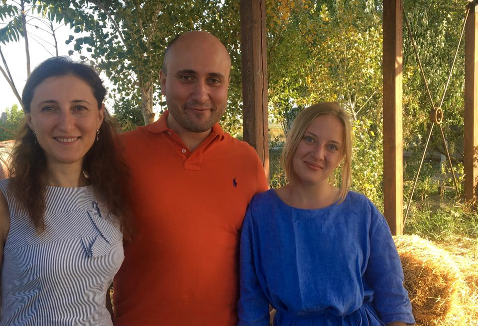 From left: Alina and Ararat Mkrtvhyan and assistant Polly Chernyshova of Voskeni Wines
