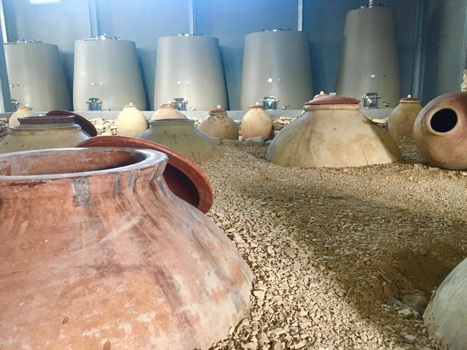 Semi-buried amphorae and concrete tanks at Zorah Wines