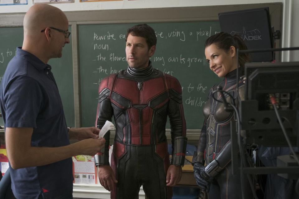 Peyton Reed directs Paul Rudd and Evangeline Lily in Walt Disney and Marvel's 'Ant-Man and the Wasp'