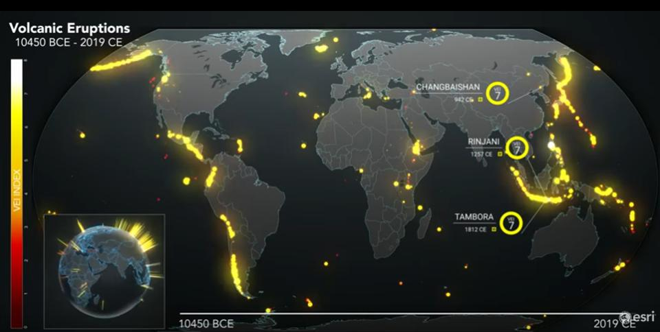 Digital map of known volcanic eruptions in the past 10,000 years by the company ESRI using  data of the Global Volcanism Program, Smithsonian Institution.