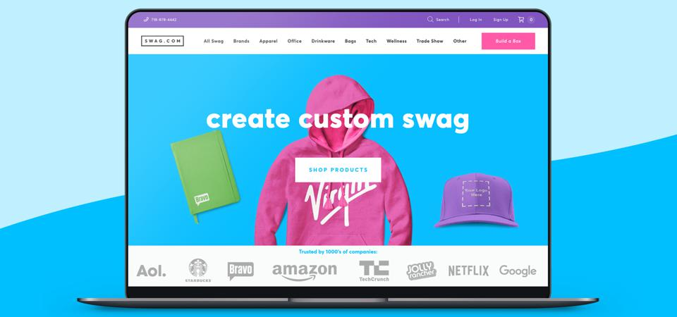 An illustration showing a screenshot of the Swag.com website.