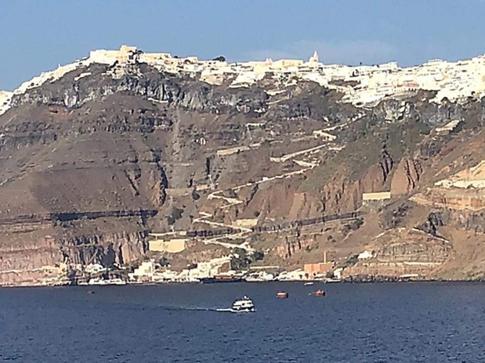 The town of Fira on Santorini perched on the cliff of the ancient volcanic caldera