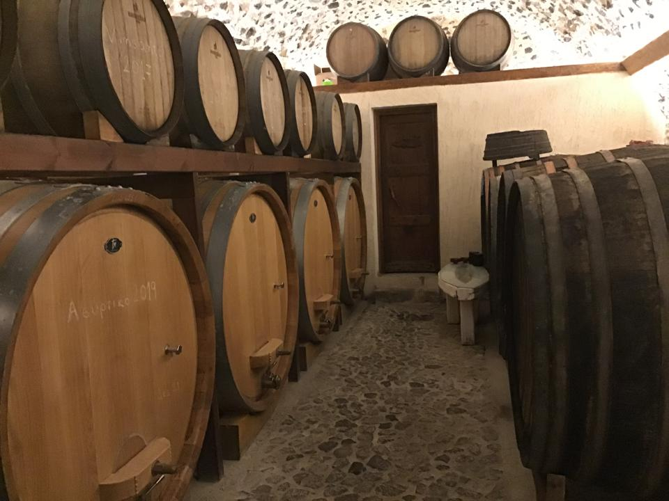 Casks at the Gavalas Winery