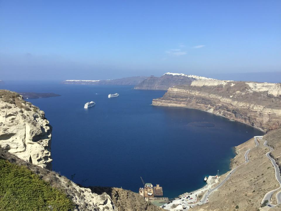Santorini lagoon in the ancient volcanic crater