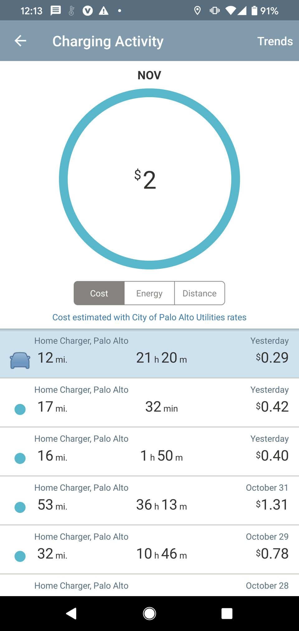 ChargePoint App activity screen