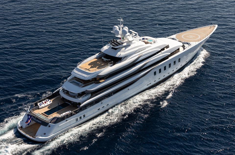 Brand new 311-foot-long Lurssen Superyacht underway