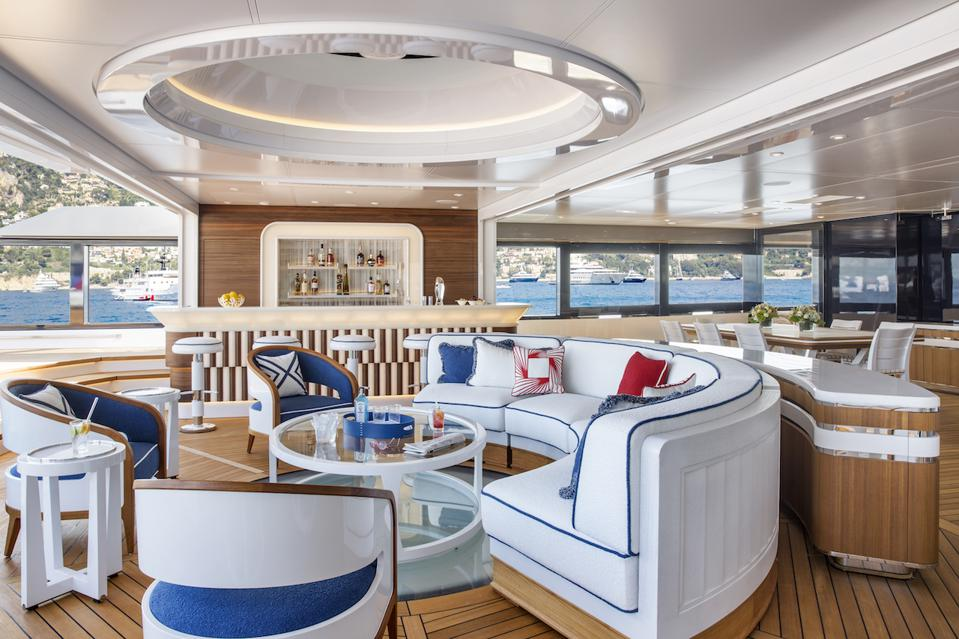 The bar and lounge aboard the 311-foot-long superyacht Madsummer
