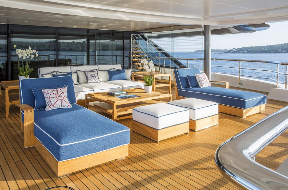The owners deck aboards Madsummer is massive and private