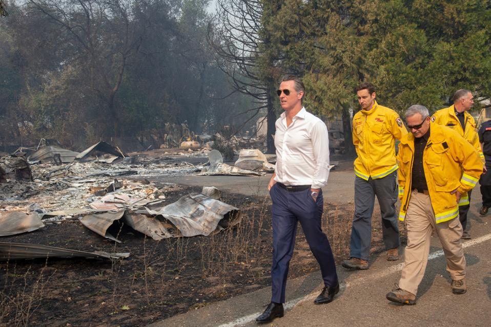 Governor Gavin Newsom at the Kincade Fire site