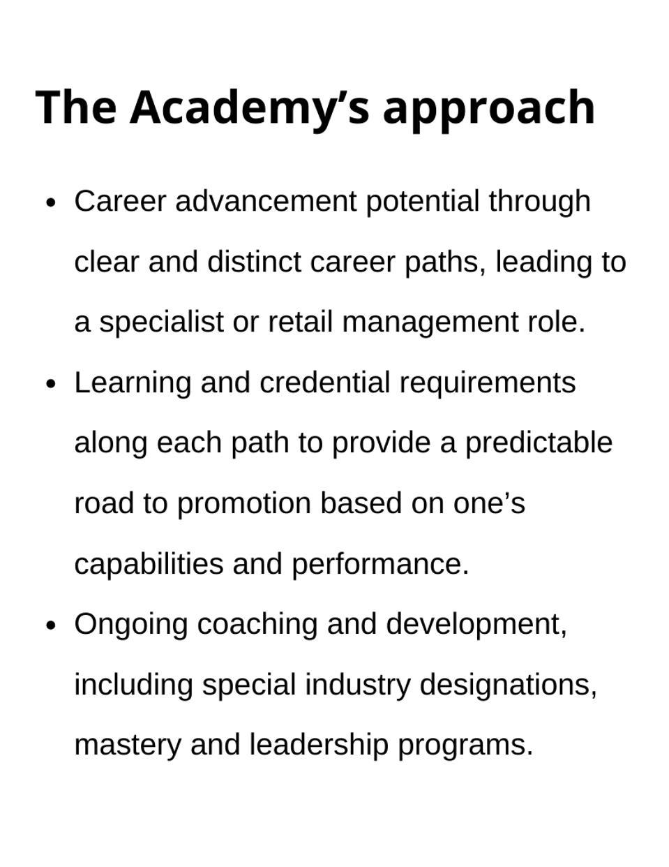 academy's approach