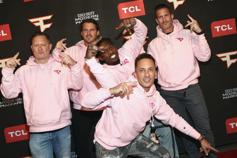 FaZe Clan co-owner and CEO Lee Trink (far right) attends the FaZe Clan Celebrity Pro-AM at TCL Chinese Theatre on October 29, 2019 with hip-hop artist Offset, Greg Selkoe, Justin Kenna, and Clinton Sparks.