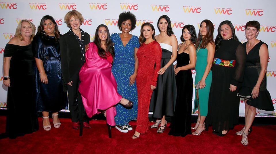 Women's Media Awards honorees Julie K. Brown, Samhita Mukhopadhyay, Laura Flanders, Maysoon Zayid, Zerlina Maxwell, Eva Longoria, Olga Segura, Diane Guerrero, Alexandra Martinez Kondracke, Mónica Ramírez, and Lauren Embrey